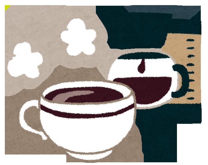 珈琲豆を炒って焙煎した粉をドリップしたコーヒー