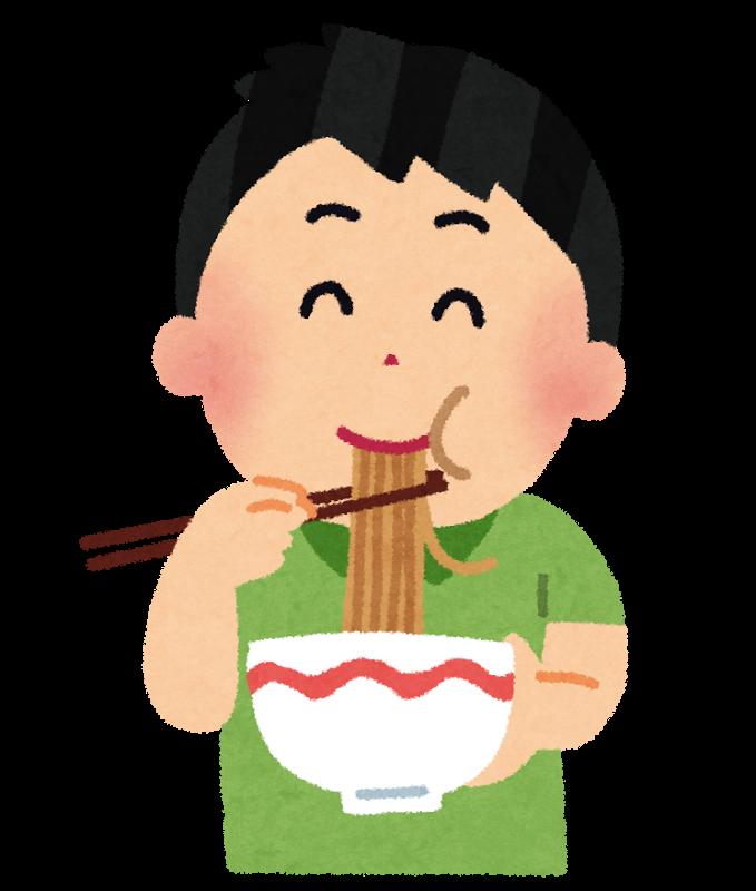 美味しそうにラーメンを食べる男性