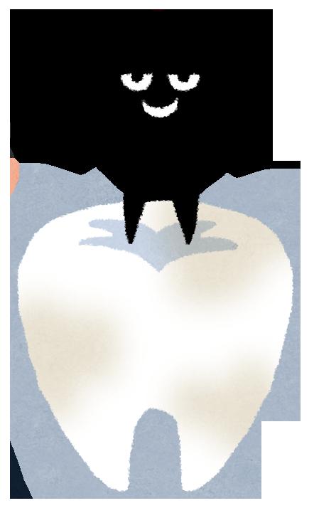 バイ菌・虫歯菌が歯を溶かして悪さをするイメージイラスト